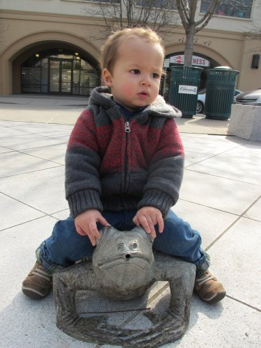 Louie riding a frog