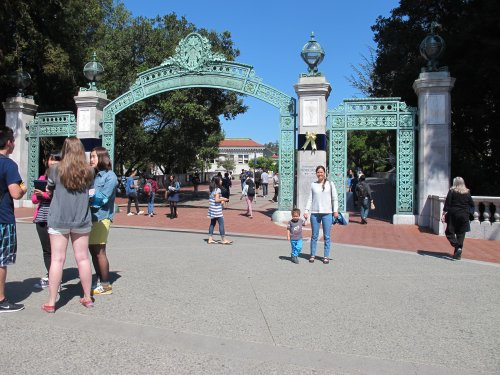 Standing in front of Sather Gate